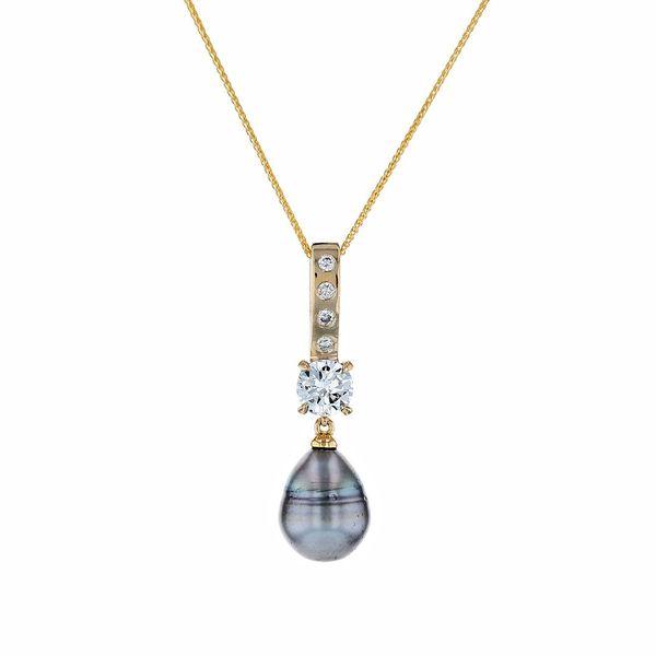 18ky pearl diamond pendant