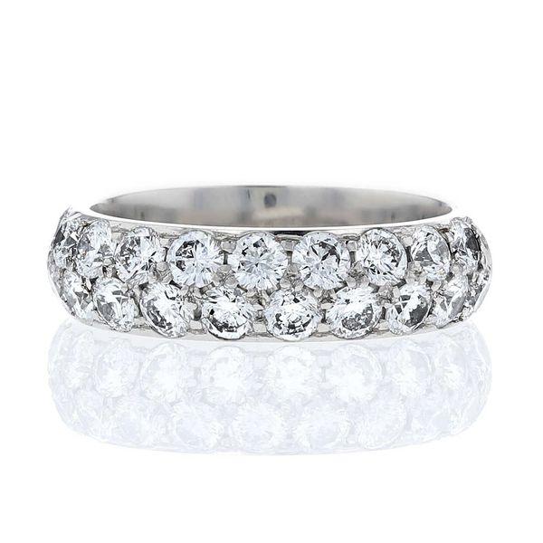 domed 2 row anniversary pave diamond band platinum