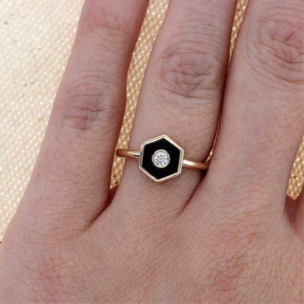 Onyx and Diamond Hexagon Ring Image 3 Fox Fine Jewelry Ventura, CA