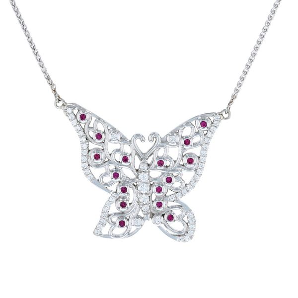 Ruby and diamond butterfly necklace
