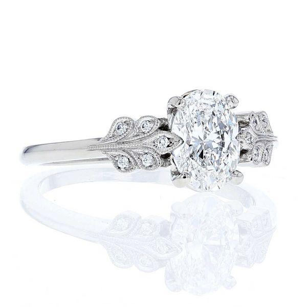 Art Nouveau Platinum Oval Engagement Ring