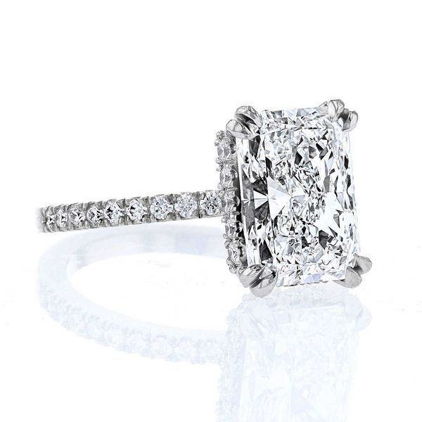 Lab grown radiant diamond double claw prong hidden halo
