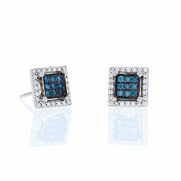 teal diamond black rhodium halo earrings