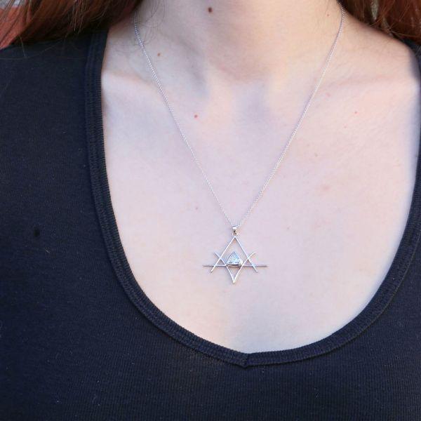 trillion cut diamond at mata reiki symbol pendant