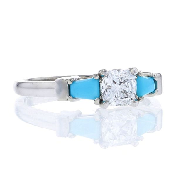 Fire cushion diamond and turquoise engagement ring