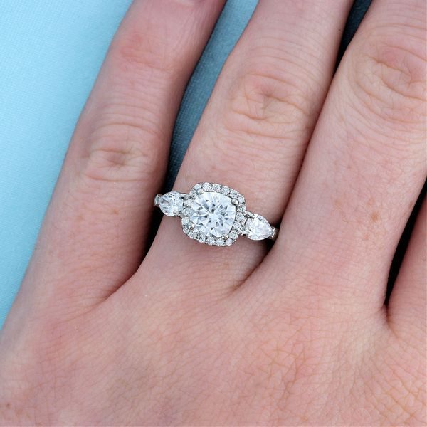 Moissanite and Lab Diamond Cushion Halo Engagement Ring