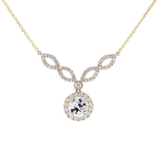 14k yellow necklace twist halo drop