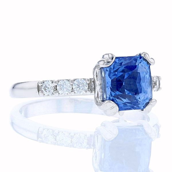 Octagonal square sapphire engagement ring