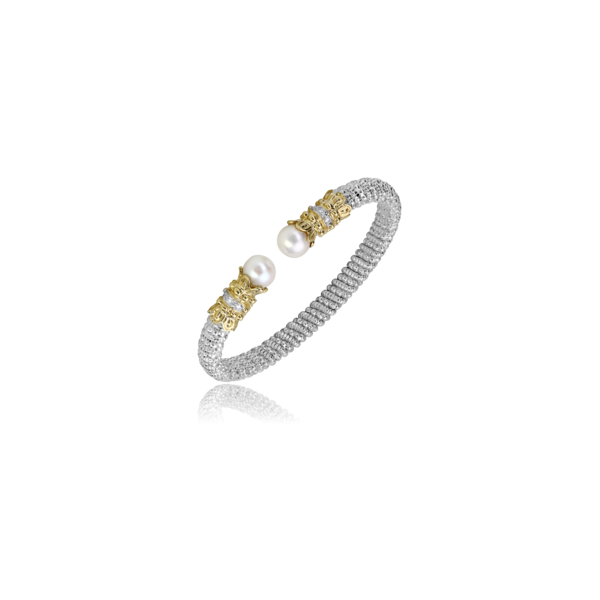 Vahan - 14kt Yellow Gold & Sterling Silver Pearl & Diamond Open Bracelet  James Gattas Jewelers Memphis, TN