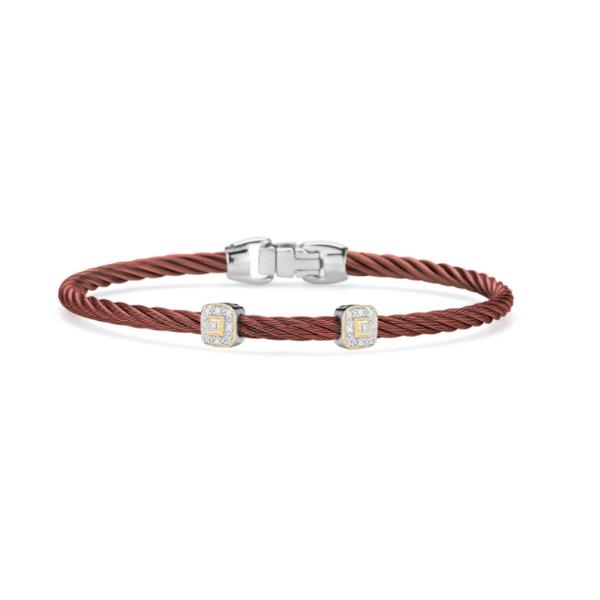 ALOR Burgundy Cable Essential Stackable Bracelet  George Press Jewelers Livingston, NJ