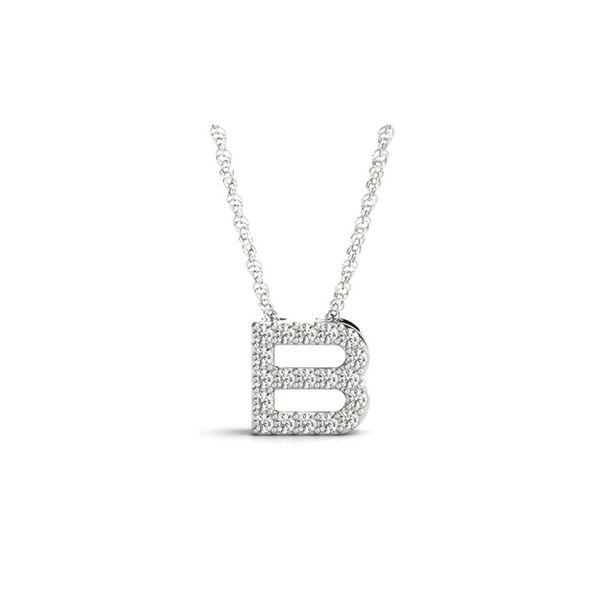 14 Karat White Gold Diamond B Necklace  George Press Jewelers Livingston, NJ