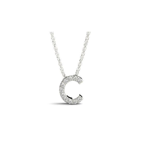 14K White Gold Diamond C Necklace George Press Jewelers Livingston, NJ