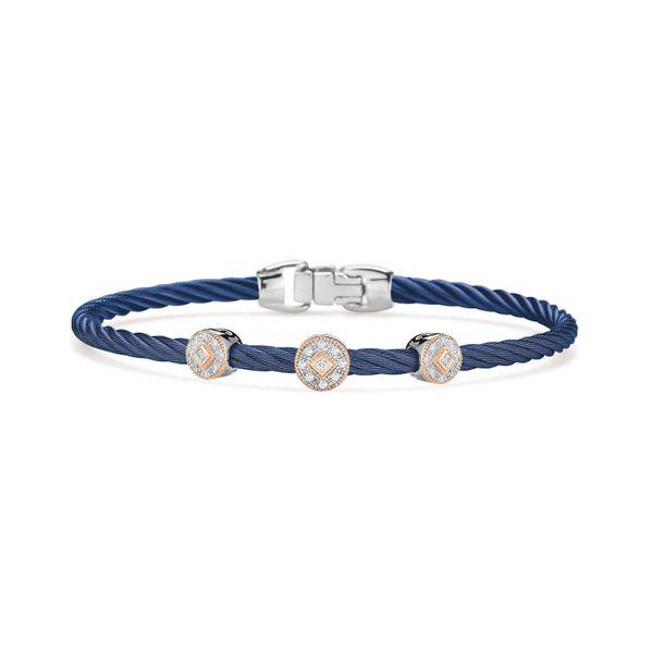 ALOR Blueberry Cable Bangle With Three Diamond Stations George Press Jewelers Livingston, NJ