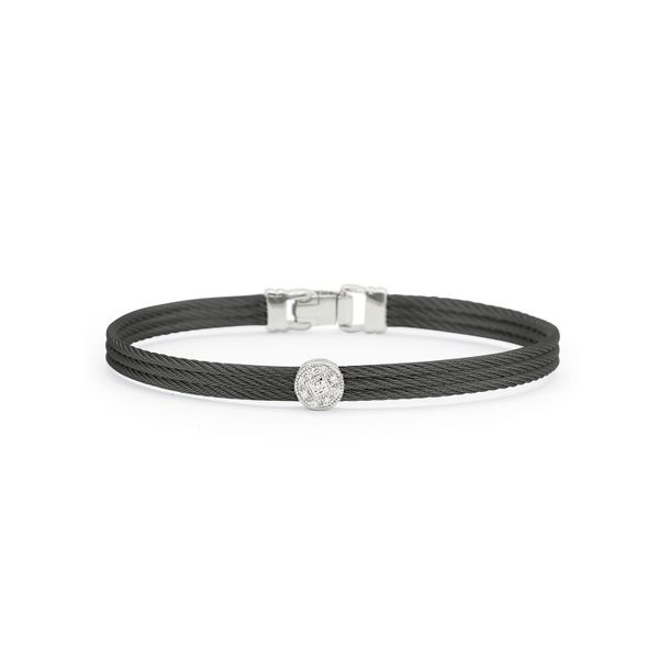 ALOR Black Cable Classic Stackable Bracelet with Single Round Station  George Press Jewelers Livingston, NJ
