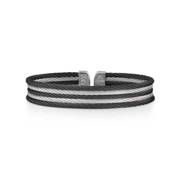 ALOR Black & Grey Cable Mini Cuff George Press Jewelers Livingston, NJ