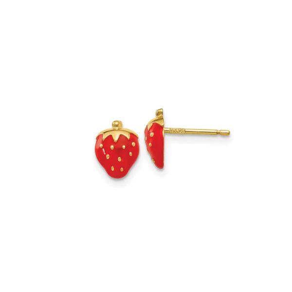 14k Enameled Strawberry Earrings George Press Jewelers Livingston, NJ