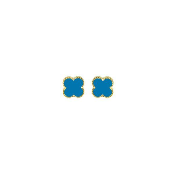 14K Yellow Gold Turquoise Earrings George Press Jewelers Livingston, NJ