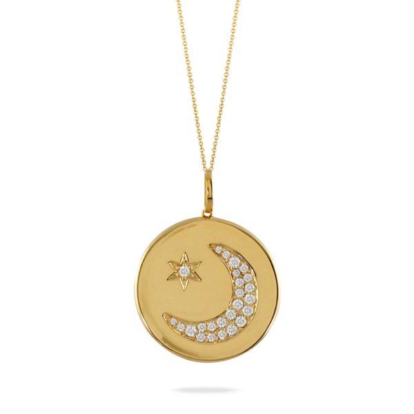18K Yellow Gold Moon & Star Pendant George Press Jewelers Livingston, NJ