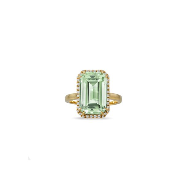 Doves 18K Yellow Gold with Mint Green Amethyst Center George Press Jewelers Livingston, NJ