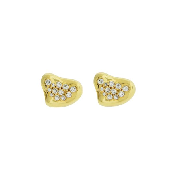 Tiffany Elsa Peretti Diamond Heart Earrings George Press Jewelers Livingston, NJ