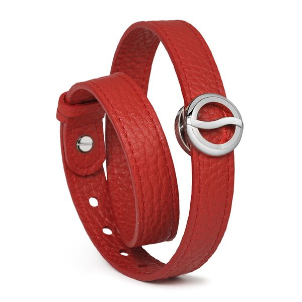 Philip Stein Horizon Bracelet-Rose Gold Plated Icon with Red Softy Leather Wrap Around George Press Jewelers Livingston, NJ