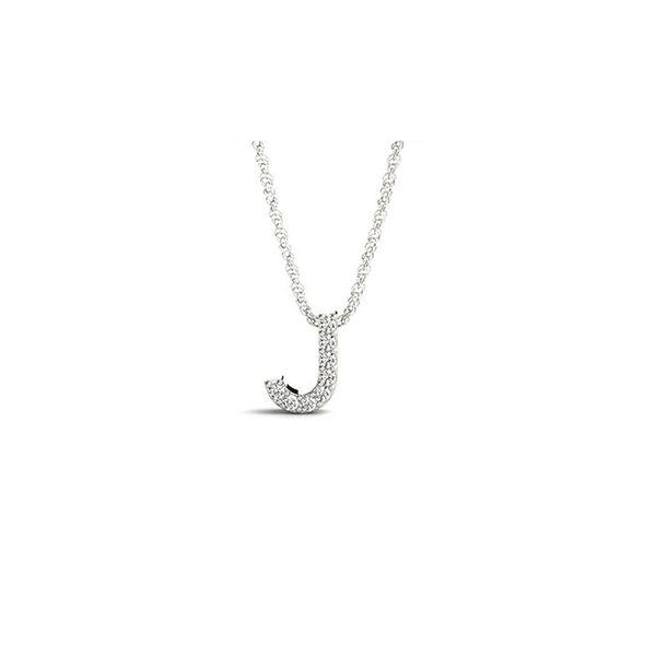 14K Diamond J Necklace George Press Jewelers Livingston, NJ