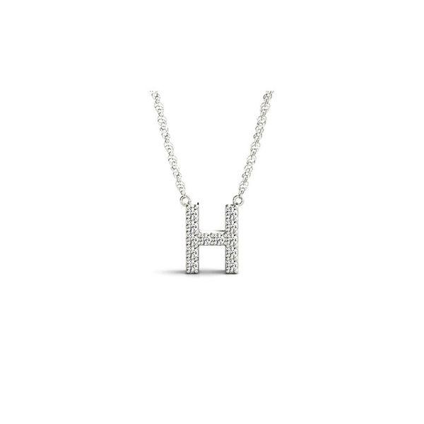 14K Diamond H Necklace George Press Jewelers Livingston, NJ