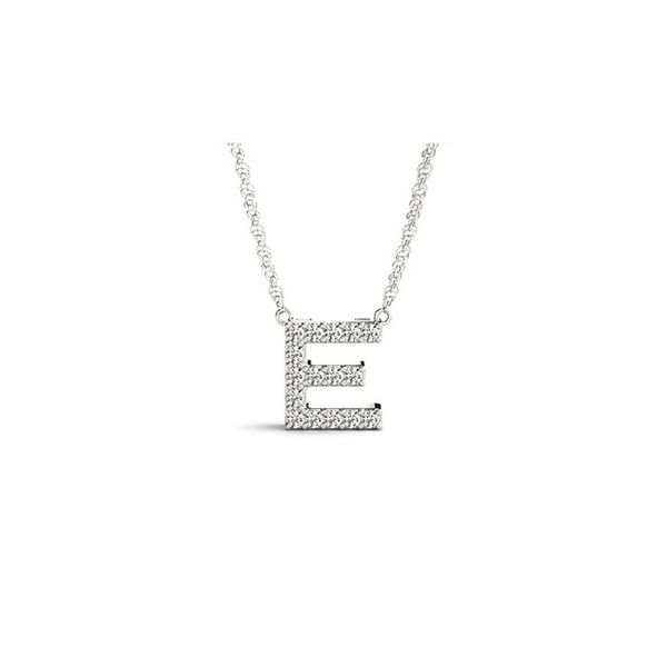 14K Diamond E Necklace George Press Jewelers Livingston, NJ