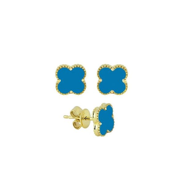 Yellow 14K Turquoise Earrings Image 2 George Press Jewelers Livingston, NJ