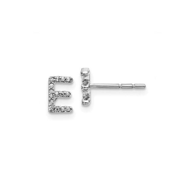 14K Diamond Initial E Earrings George Press Jewelers Livingston, NJ