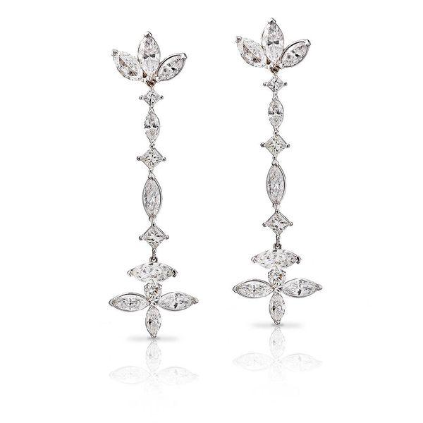 George Press Diamond Drop Floral Earrings George Press Jewelers Livingston, NJ