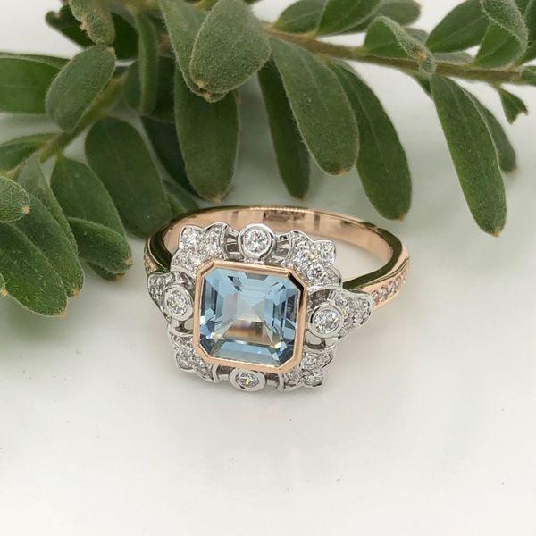 18Ct Rose Gold Aquamarine Dress Ring with Diamonds Georgies Fine Jewellery Narooma, New South Wales