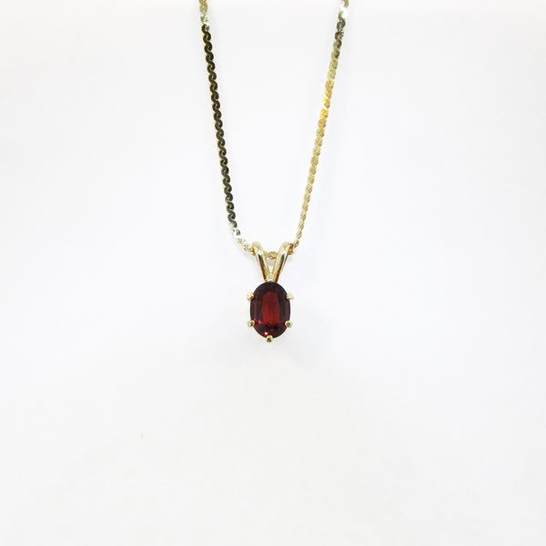 Gold and Garnet Oval Pendant Graham Jewelers Wayzata, MN