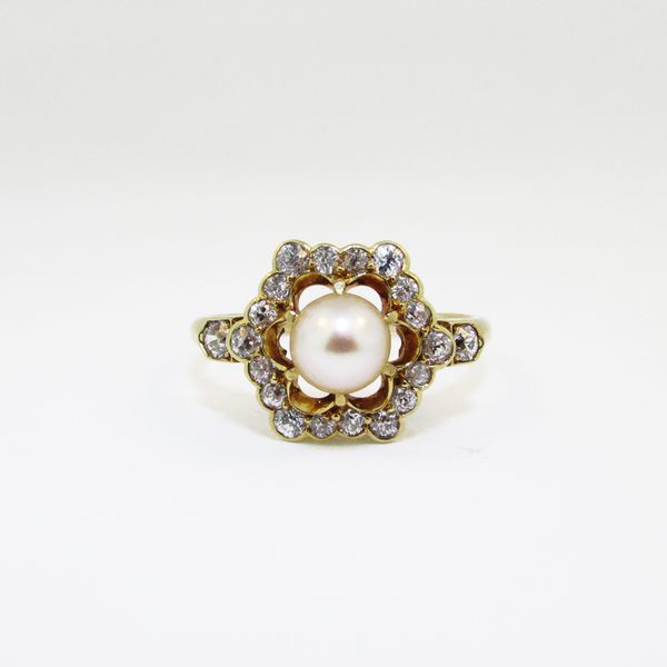 Yellow Gold Diamond Pearl Vintage Ring Graham Jewelers Wayzata, MN