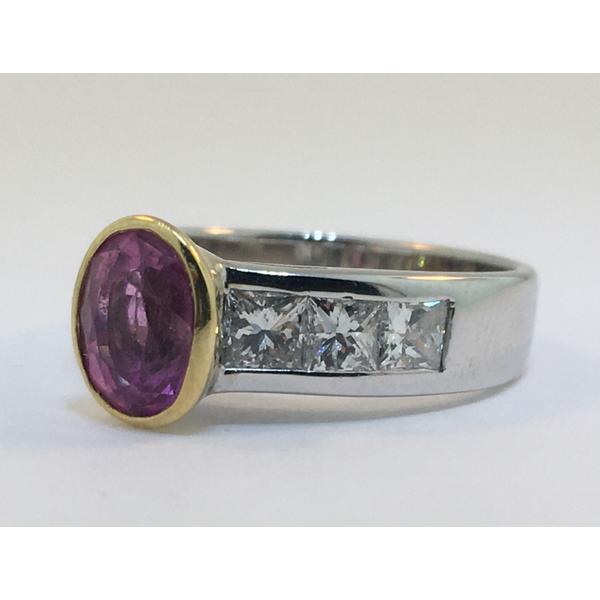 Gold Bezel Set Pink Sapphire and Diamond Ring Graham Jewelers Wayzata, MN
