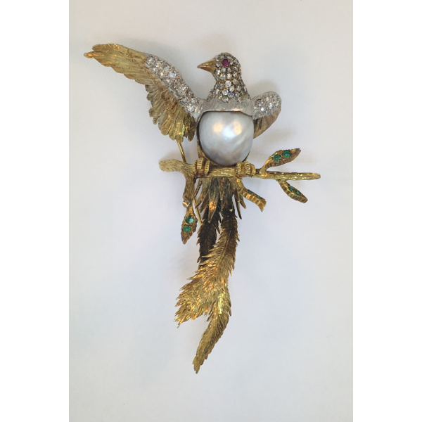 Gold Diamond and Pearl Bird Estate Brooch Graham Jewelers Wayzata, MN