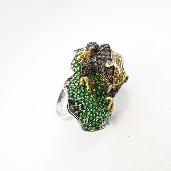 Gold Diamond and Garnet Frog Ring Graham Jewelers Wayzata, MN