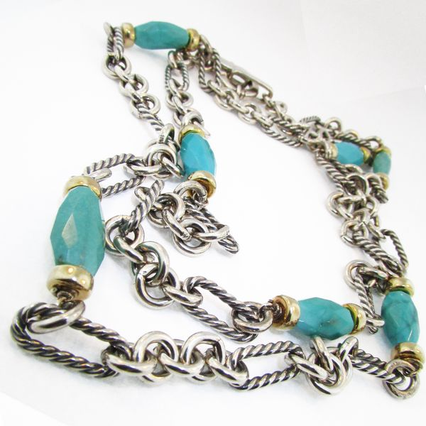 Silver and 18 Karat Gold David Yurman Turquoise Necklace Graham Jewelers Wayzata, MN