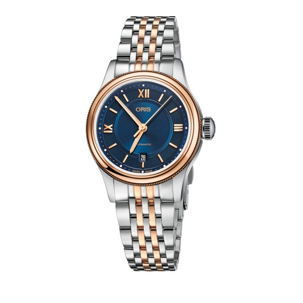 Oris Classic Date and Stainless steel bracelet with blue dial Grogan Jewelers Florence, AL