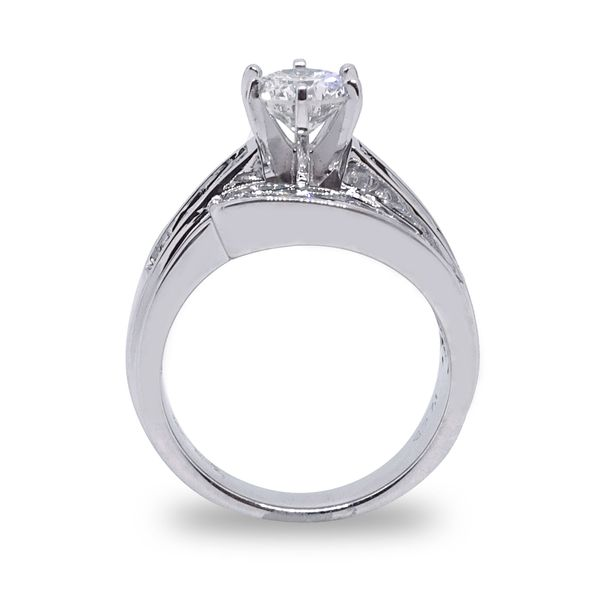 Round Brilliant Center Diamond with Baguette and Round Diamond Channel Set Engagement Ring in White Gold Image 2 Grogan Jewelers Florence, AL