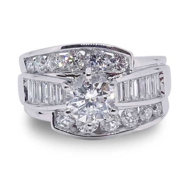 Round Brilliant Center Diamond with Baguette and Round Diamond Channel Set Engagement Ring in White Gold Image 3 Grogan Jewelers Florence, AL