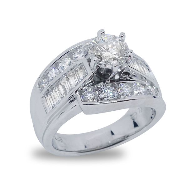 Round Brilliant Center Diamond with Baguette and Round Diamond Channel Set Engagement Ring in White Gold Image 4 Grogan Jewelers Florence, AL