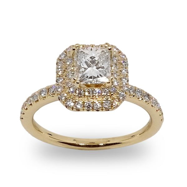 Princess Cut Double Halo Engagement Ring in Yellow Gold Image 3 Grogan Jewelers Florence, AL