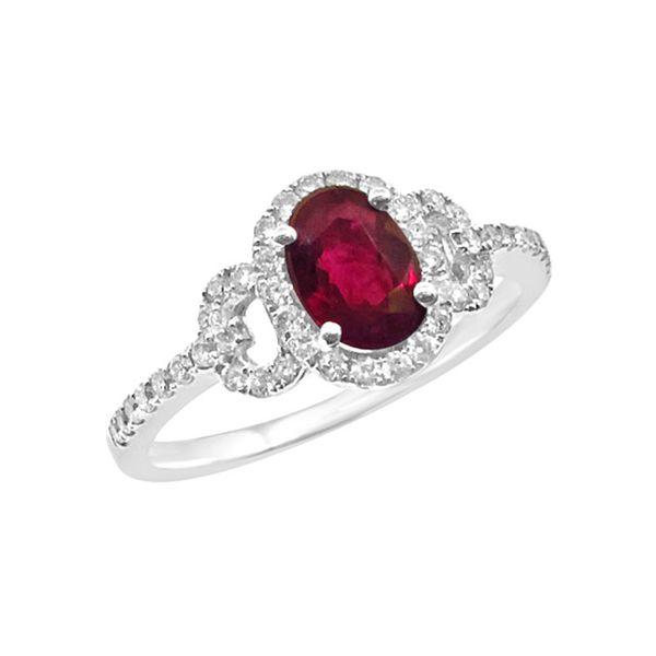 Oval Ruby Halo Diamond Ring Grogan Jewelers Florence, AL