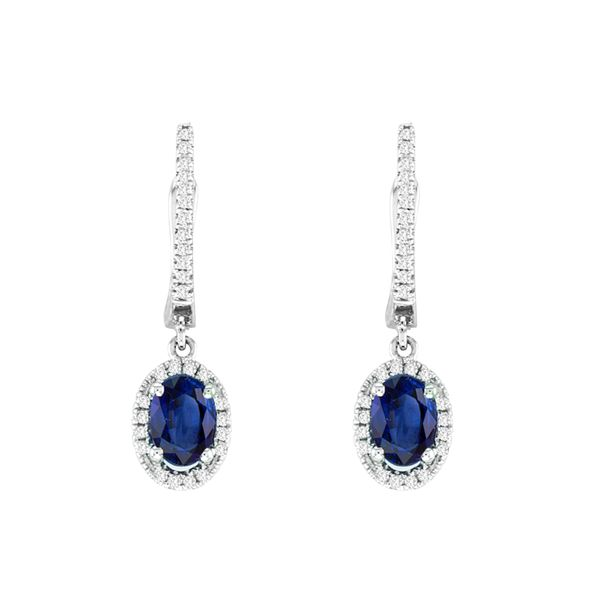 Oval Sapphire Halo Diamond Drop Earrings Grogan Jewelers Florence, AL