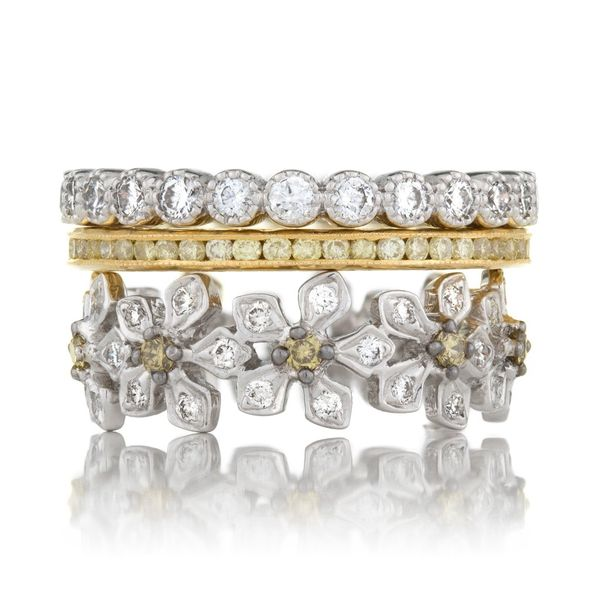 No. 6 Stacked Bands in White and Yellow Gold Grogan Jewelers Florence, AL