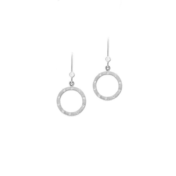 The Dunes Circle Earrings with White Diamonds in White Gold Grogan Jewelers Florence, AL