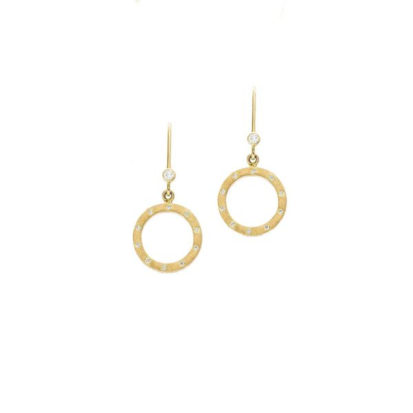 The Dunes Circle Earrings with White Diamonds in Yellow Gold Grogan Jewelers Florence, AL