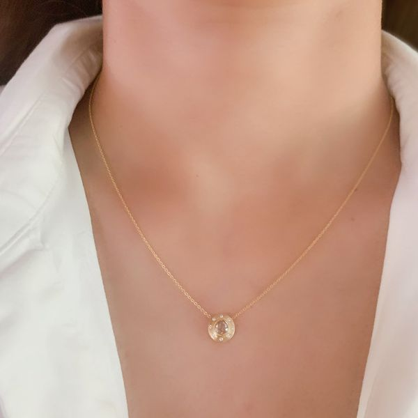 The Dunes Classic Necklace with White Diamonds in Yellow Gold Image 2 Grogan Jewelers Florence, AL