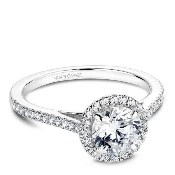 A Noam Carver Engagement Ring in 14K White Gold with 42 Round Diamonds Image 2 Grogan Jewelers Florence, AL